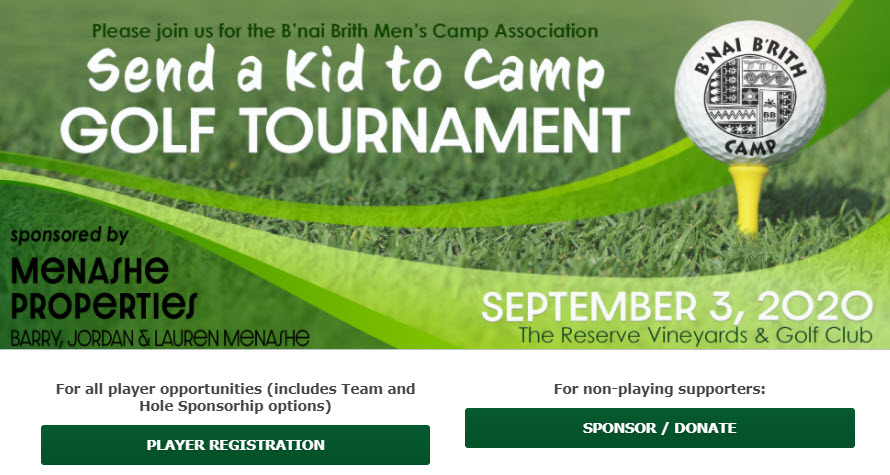 Send a Kid to Camp Golf Tournament event banner showing a golf ball on a tee with a grass background. The banner image also includes details about the event in text.