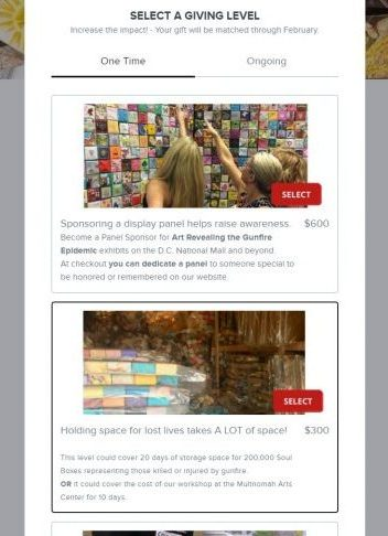 The Soul Box Project added images and a brief description so donors know how their donation will make an impact.
