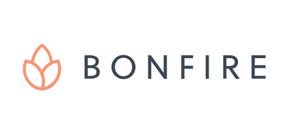 Bonfire business logo, which is a flame reminiscent of a flower to the left of their business name.