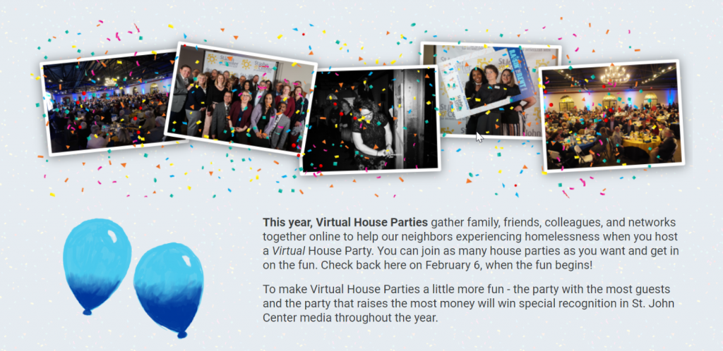 Image from St. John Center for Homeless Men's virtual house parties fundraiser