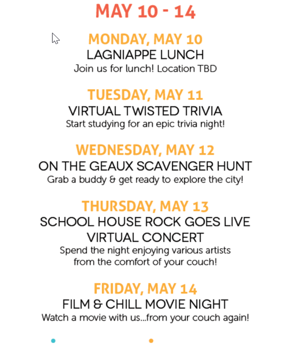 Sample event schedule from City Year Baton Rouge used while fundraising for education