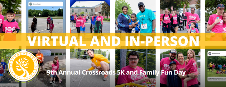 Banner image from Crossroads School's 5k and Family Fun Day fundraiser for education