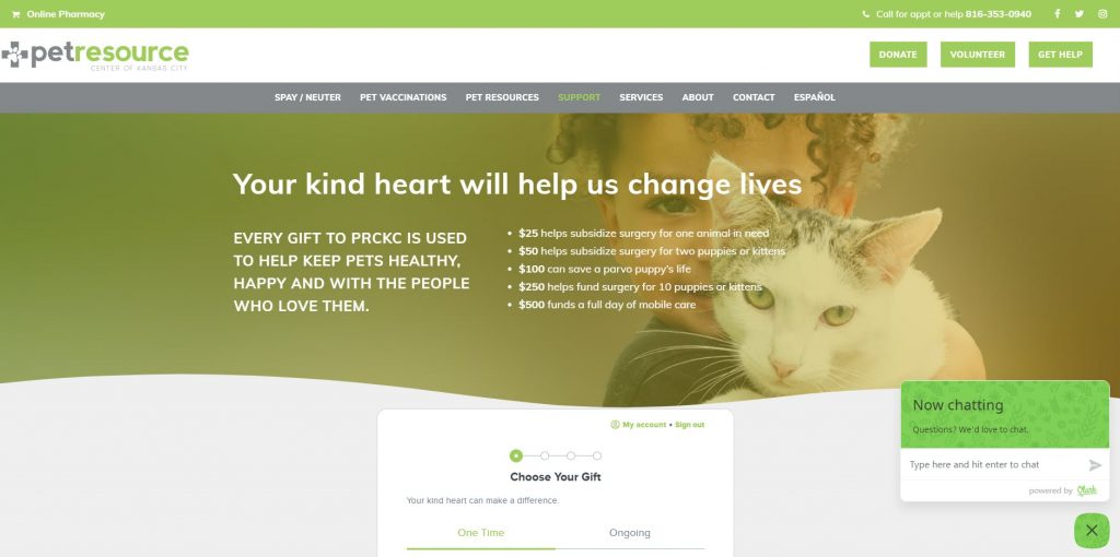 Pet Resource Center of Kansas City added a banner with an image and text to highlight how each donation amount makes an impact.