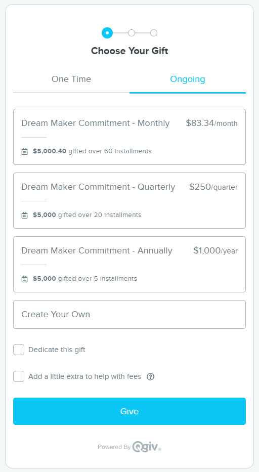 Image of a donation form with three giving plan options. Each offers a way to pledge $5000 over 5 years: 60 monthly installments, 20 quarterly installments, or 5 annual installments.
