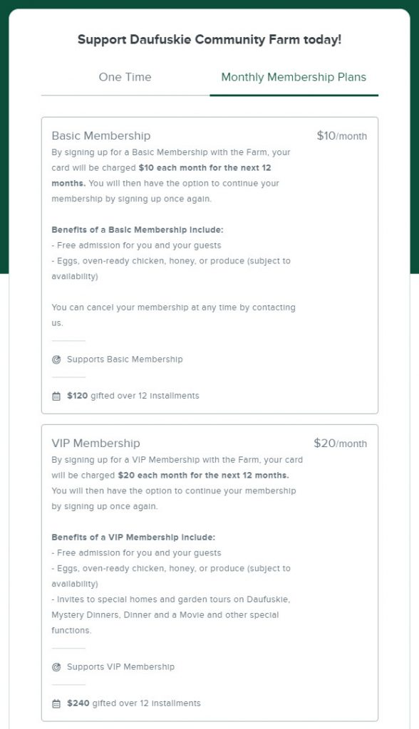 Image of a donation form with two giving plan options for two different membership levels. The additional description for each membership explains the benefits of that membership level.