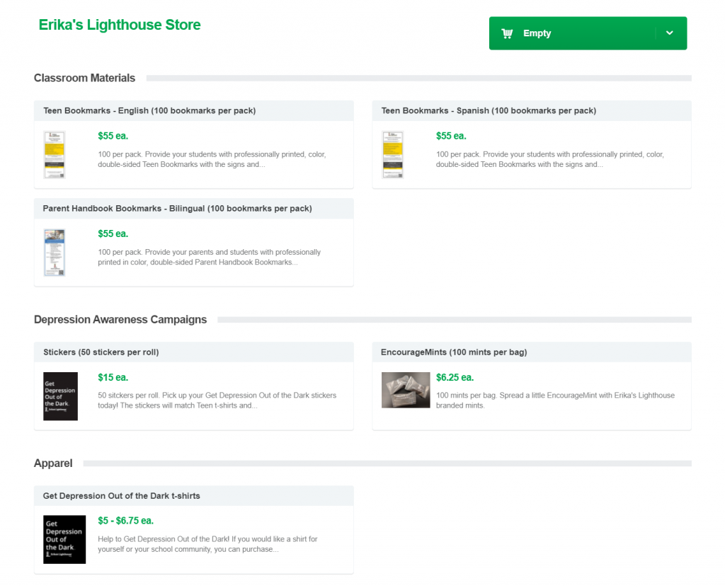 Image of Erika's Lighthouse online store that was created with Qgiv's P2P fundraising platform. They are selling bookmarks, stickers, mints, and shirts.