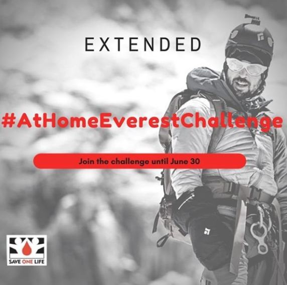 Save One Life's At Home Everest Challenge event banner that shows the challenge hashtag and an image of a mountain climber.