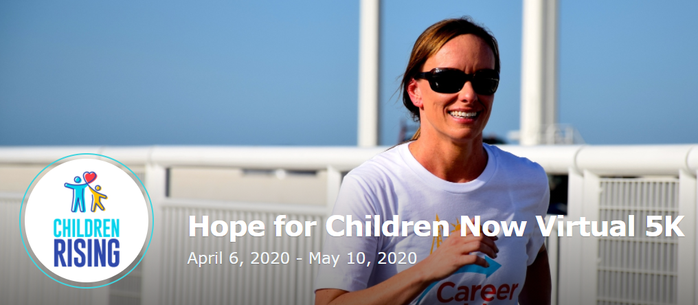 Hope for Children Virtual 5K event banner showing the name of the event, time and date, and a woman running.