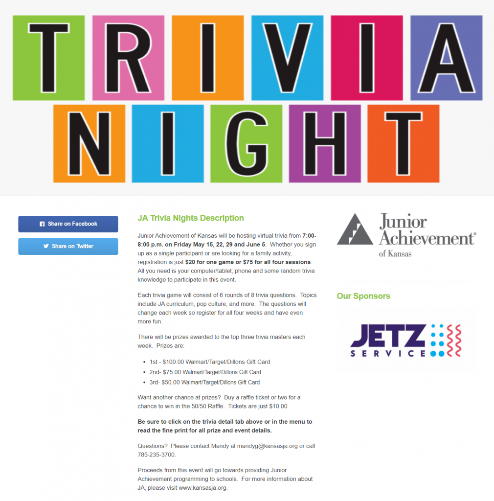 Image of a peer-to-peer event fundraising page for Junior Achievement of Kansas that tells about their virtual trivia night.