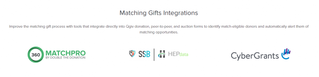 Image showing logos for Qgiv matching gift integrations with Double the Donation, HEP Data, and Cyber Grants.