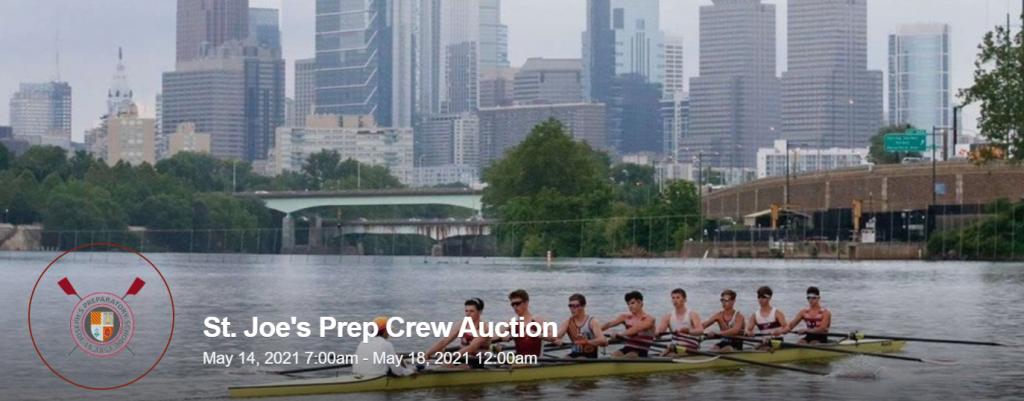 Saint Joseph's Prep auction event banner image showing the event name and date and students rowing crew.