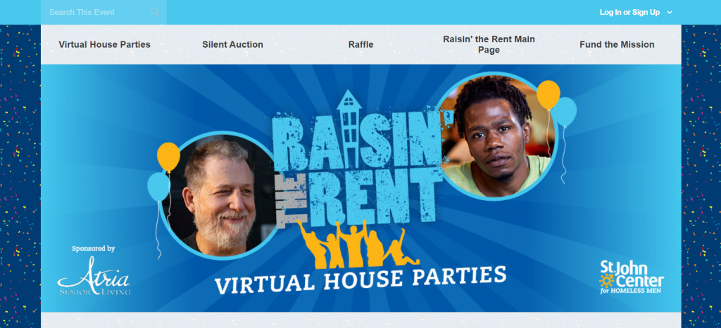 Here's a screenshot of the Raisin The Rent virtual house party fundraising event.