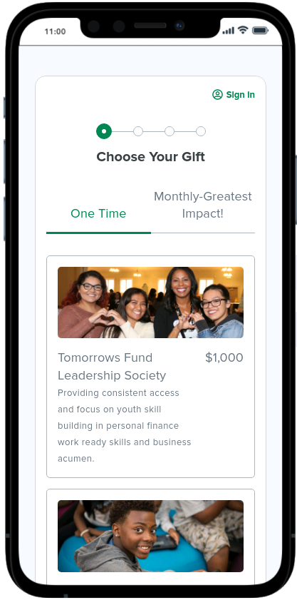 This is an example of a text-to-donate donation form on a mobile device.