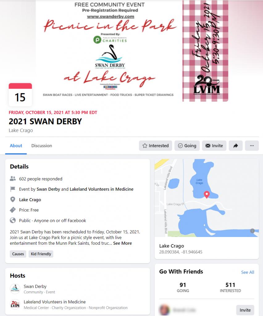 Lakeland Volunteers In Medicine 2021 Swan Derby Facebook event page.