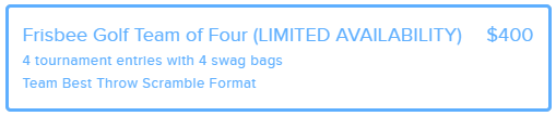 """A donation form box outlined in blue with blue writing that says, """"Frisbee Golf Team of Four $400: 4 tournament entries with 4 sway bags, Team Best Throw Scramble Format."""""""