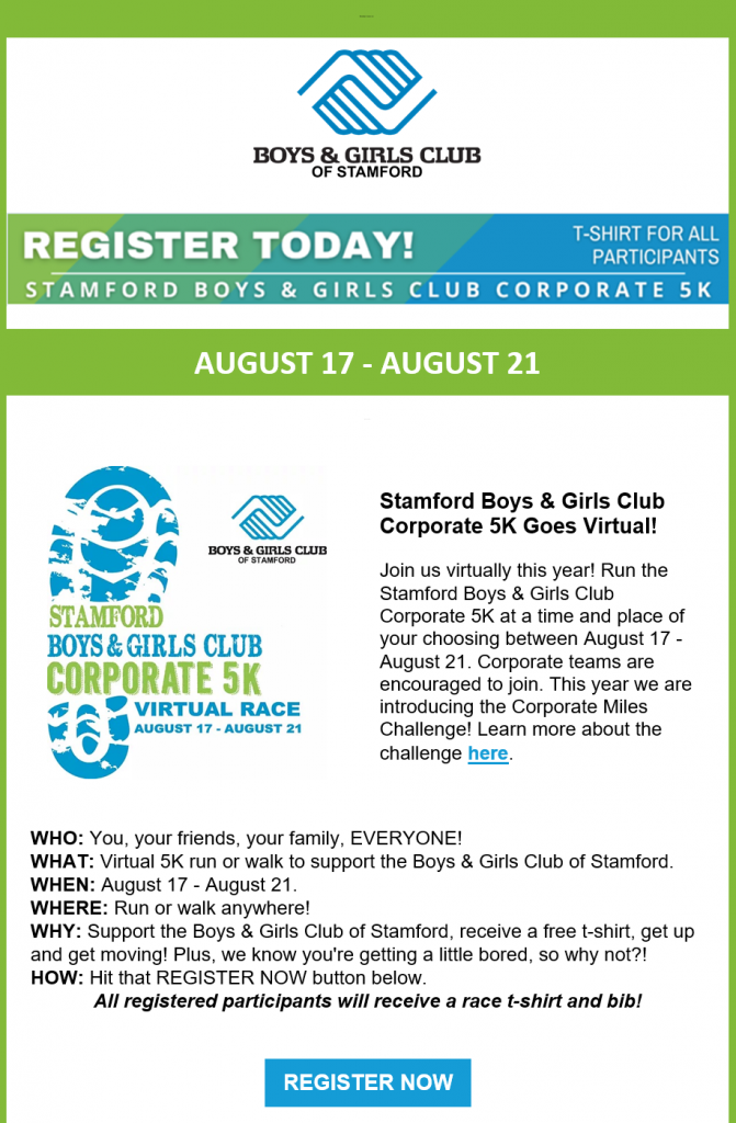 Boys & Girls Club Stamford's email invitation to supporters advertising their next event.