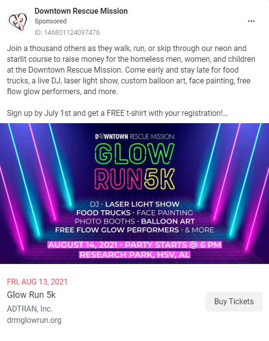 Downtown Rescue Mission used targeted social ads to advertise their Glow Run 5K Fundraising event.