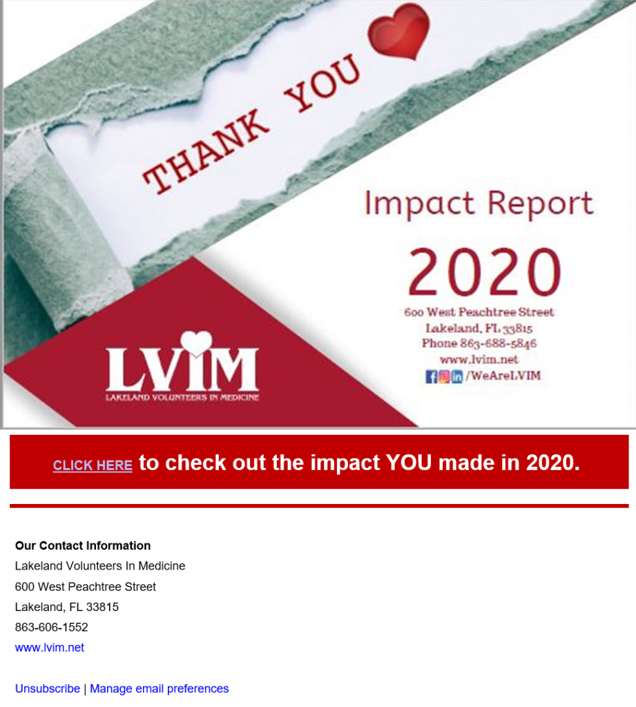 Screenshot of Local client, Lakeland Volunteers In Medicine's annual impact report email they send to new and existing supporters.