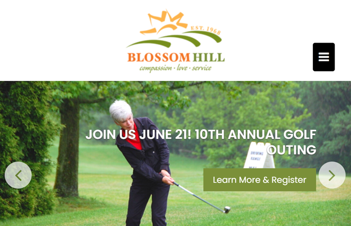 Image from Blossom Hill's website showing the date of their golf event. There is a learn more and register button. The background shows an older female golfer participating in a golfing event.