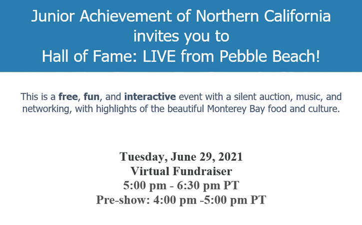 Image of Junior Achievement of Northern California's email invitation to their Hall of Fame event, which featured key details like date, time, format, cost, and activities.