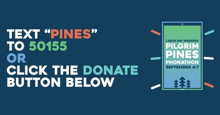 Graphic supporting Pilgrim Pines' text fundraising campaign