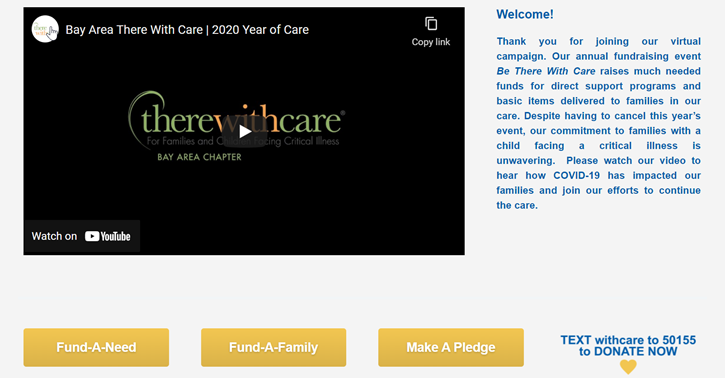 Screen capture of There With Care's Be There With Care 2020, which helped them pivot from an in-person gala to a virtual fundraiser after COVID-19 hit