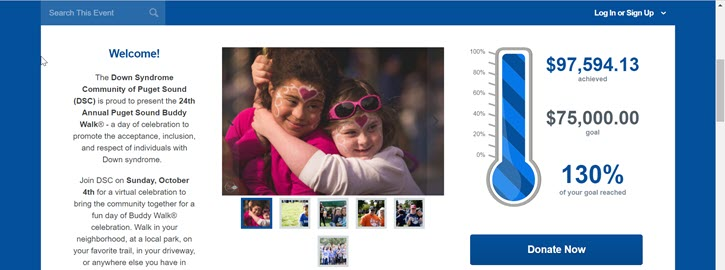 Down Syndrome Community of Puget Sound incorporated text fundraising into their annual walk with great success. They raised 130% of their goal!