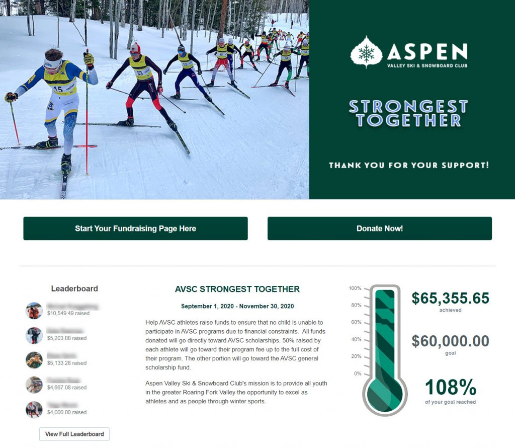 Aspen Valley Ski & Snowboard Club Peer-to-Peer Fundraising Event Page.
