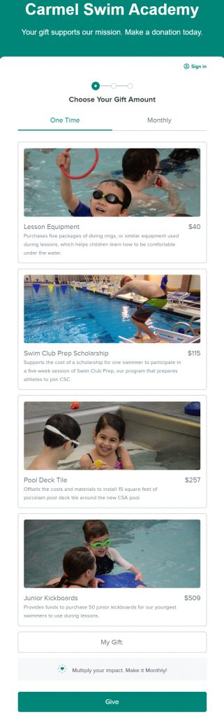 Carmel Swim Academy online donation form with images showing impact of gifts at various donation amounts. Each gift corresponds with a need fulfilled by that donation.