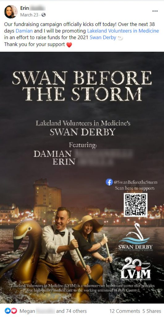 Swan Before The Storm made a funny mock movie poster to announce their upcoming participation in Lakeland Volunteers In Medicine's Swan Derby.