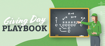 Giving Day Playbook cover image of a coach explaining a sports play using a chalk board.