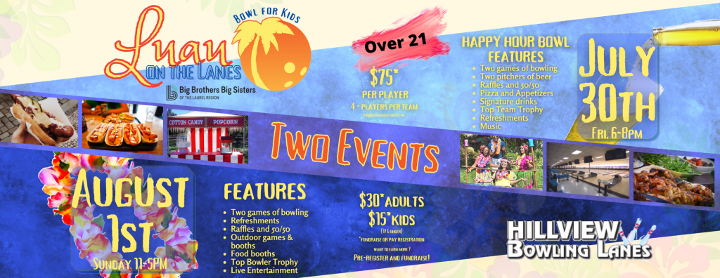 Luau on the Lanes image header marketing the fundraiser as two separate events taking place on two different days at Hillview Bowling Lanes.