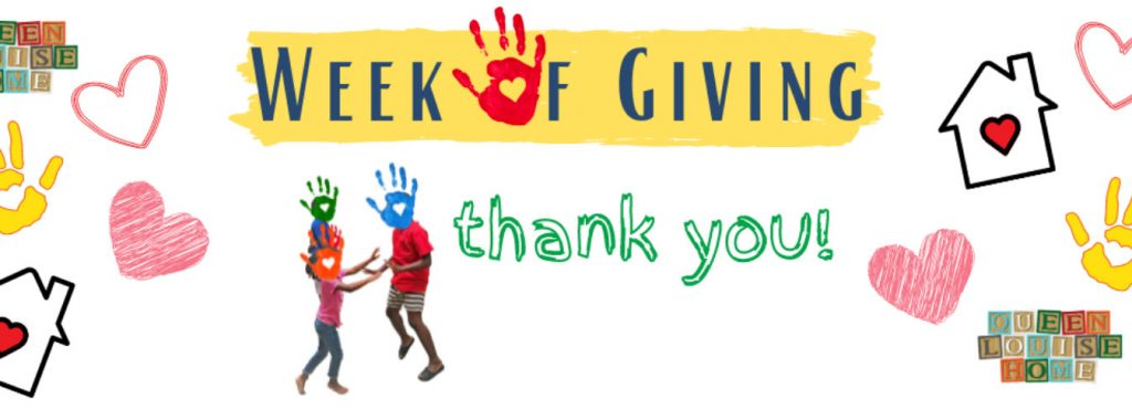 Week of Giving event cover image featuring cute children's illustrations.