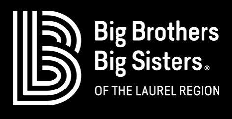 Big Brothers Big Sisters of the Laurel Region's Logo on a black background with white lettering.