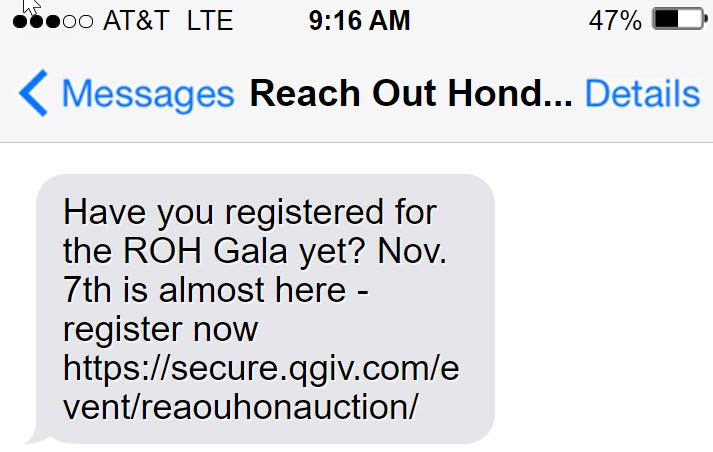 Here is an example of how you can use texting for event reminders.