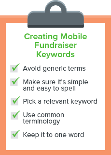 Checklist to creating keywords for mobile fundraisers.