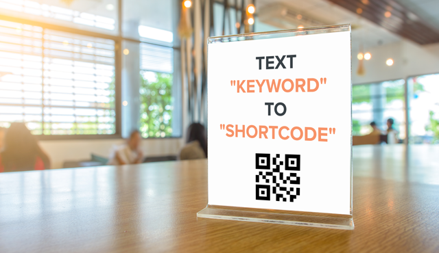 Here is an example of a text fundraiser using a restaurant table tent.