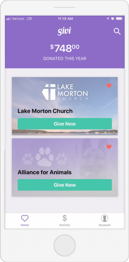 Here is Givi, a mobile fundraising app for churches.