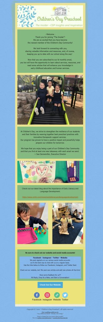 Email 1 in the Children's Day Preschool new donor email welcome series. The image features children at their preschool and explains the school's approach to education while sharing links to valuable resources on their company blog.