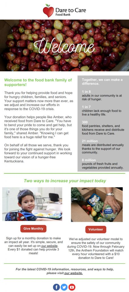 A Welcome Email from Dare to Care Food Bank that discusses their mission and why donors give in support of them.