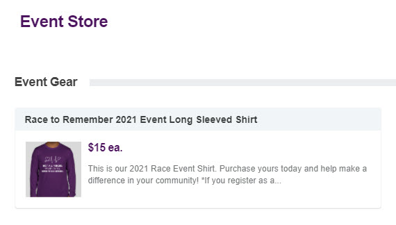 Hospice of Marshall County Foundation's Race to Remember 2021 shirt for sale on their event's peer-to-peer store.