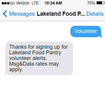 A text message exchange showing how donors can text a keyword to opt into text communications from you.