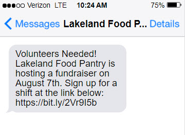 A text from a nonprofit recuiting volunteers for a fundraising event.