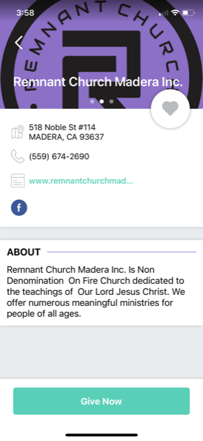 A screenshot of Remnant Church's Givi donation page