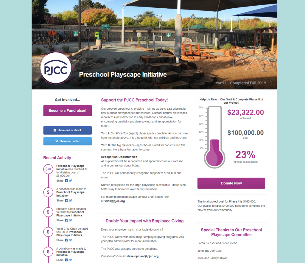 Peninsula Jewish Community Center's peer-to-peer fundraising event home page. It shows the progress toward their goal of raising $100,000 for a construction project.
