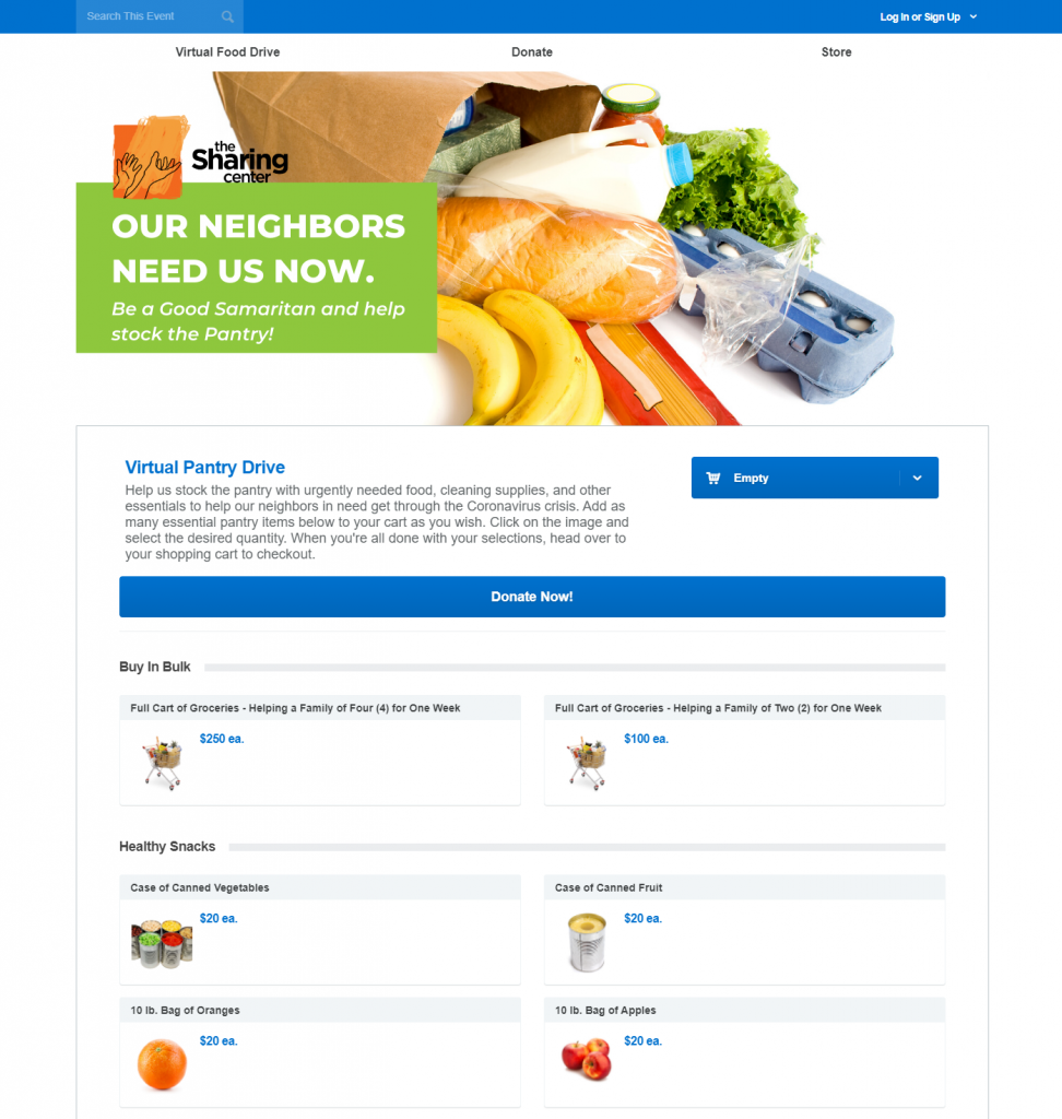 The Sharing Center's virtual pantry that simulates shopping in a store. It contains categories of food and household essential items that supporters can purchase to support the organization.