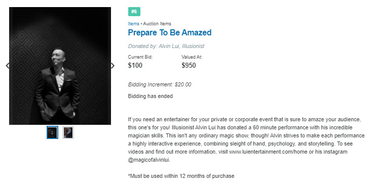 91 Place wrote an attention-grabbing description of this illusionist's offer to perform a show at the winning bidder's next event.