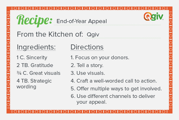 Check out this recipe for a great end-of-year appeal.