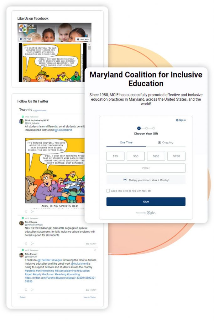 Social feed and simple online donation form for MCIE's end-of-year campaign.
