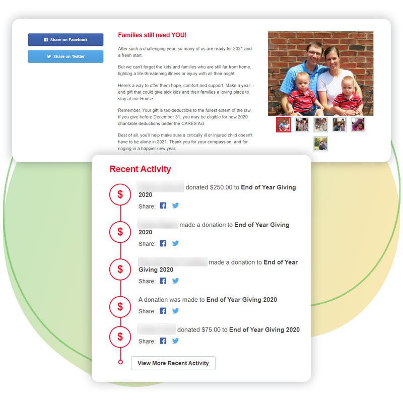 Ronald McDonald House Charities beneficiary images and the recent activity widget to show social proof the campaign was supported.